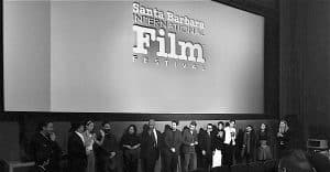 Gia Mora speaking at the post-screening panel at Santa Barbara International Film Festival